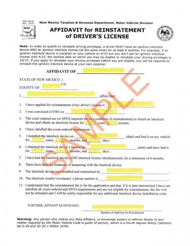 Affidavit for Reinstatement of Drivers License - MVD Now DMV